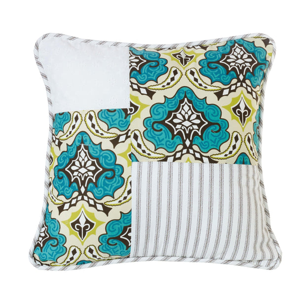 Salado Patchwork Throw Pillow, Floral Medallion, 18x18