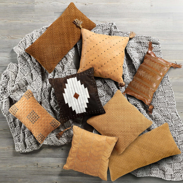 Soft Tan Basket Weave (Genuine) Leather Pillow With Stud Accents, 20x12