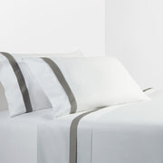 350 TC White Sheet Set with Gray Flange