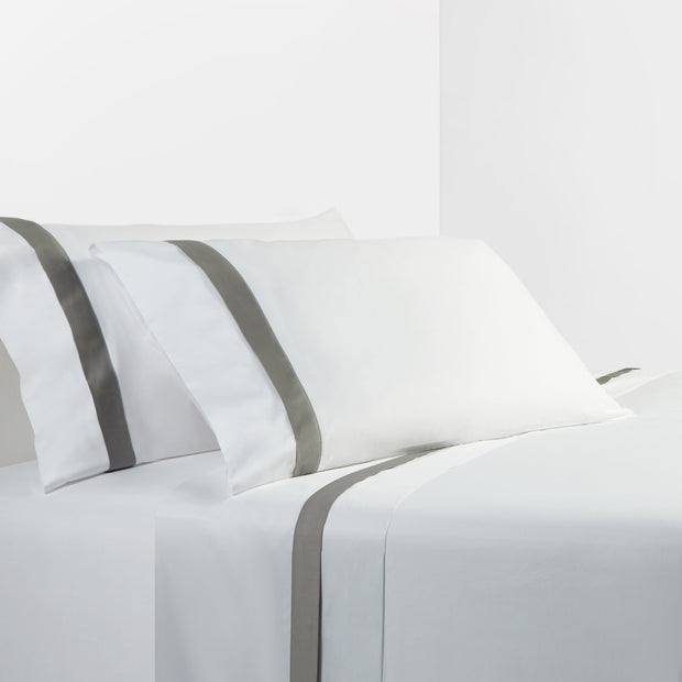 350 TC White Sheet Set with Gray Flange (Queen/King)