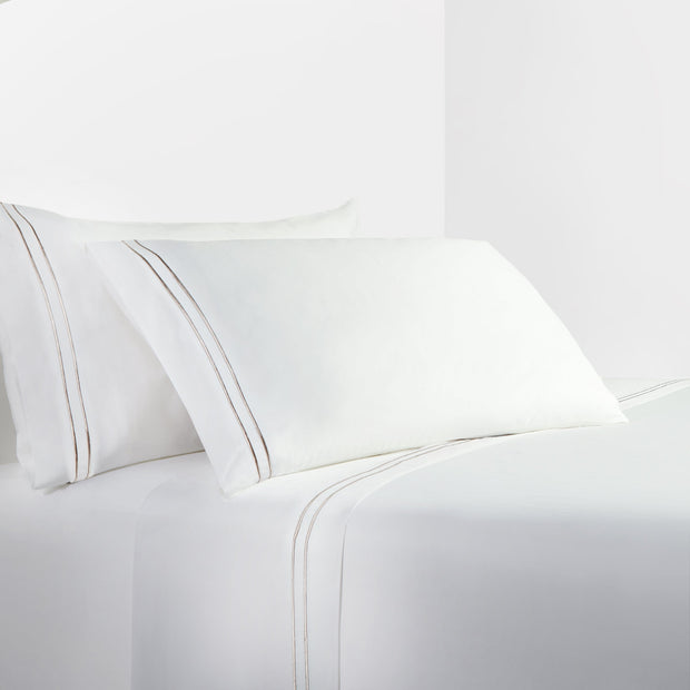 350 TC WHITE SHEET SET WITH TAUPE STRIPE EMBROIDERY (QUEEN/ KING)