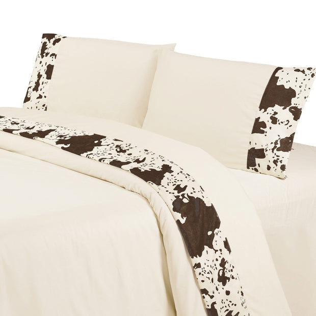 Cowhide 4-PC Sheet Set, 350 Thread Count, Cream, Chocolate
