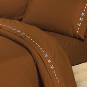 Embroidered Star Sheet Set, Cream, Chocolate