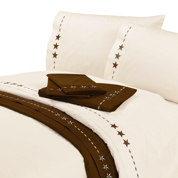 Embroidered Star 4 PC Sheet Set, Cream, Chocolate