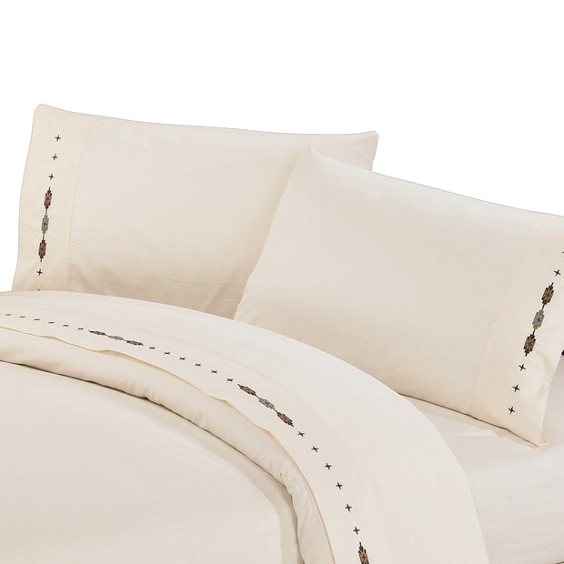 Navajo 4 PC Sheet Set, 350 Thread Count, Cream, Copper