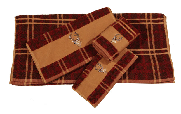 Embroidered Deer Towel Set, 3-pc Plaid