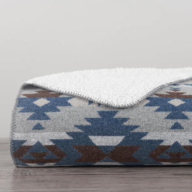Aztec Design Throw With Shearling, 3 Colors