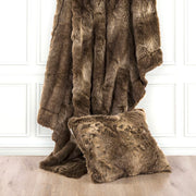 Oversized Wolf Faux Fur Throw Pillow