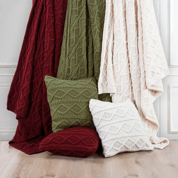 Cable Knit Soft Diamond Euro Sham, 3 Colors