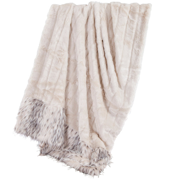White Faux Mink & Snow Leopard Oversized Throw Blanket