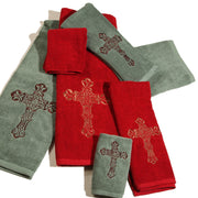 Embroidered Cross Hand Towel (EA), Red