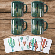 Tossed Feather Bohemian Mug and Saguaro Cactus Coaster 8 PC Set