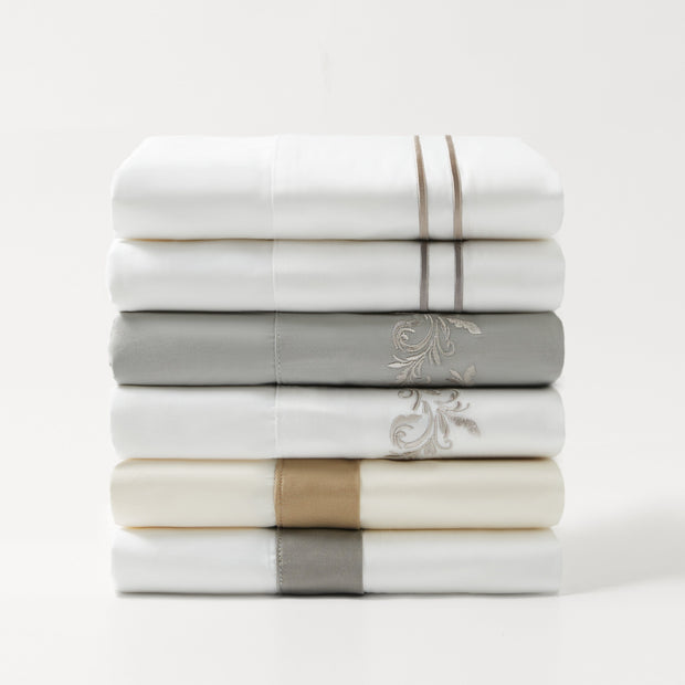 350 TC WHITE SHEET SET WITH NAVY STRIPE EMBROIDERY (QUEEN/ KING)