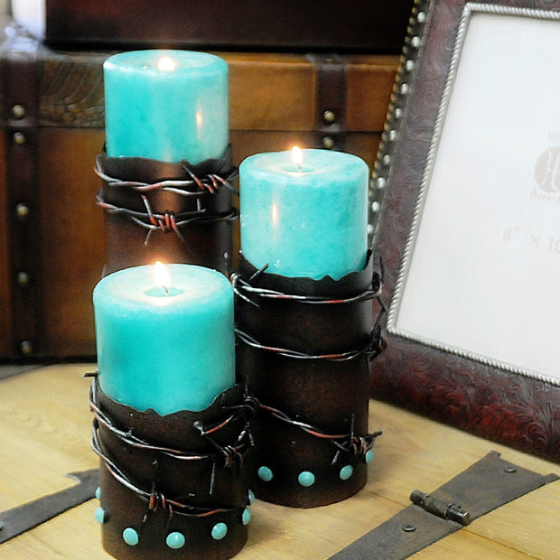 Barbwire & Turquoise Pillar Candle Holder (Set of 3)