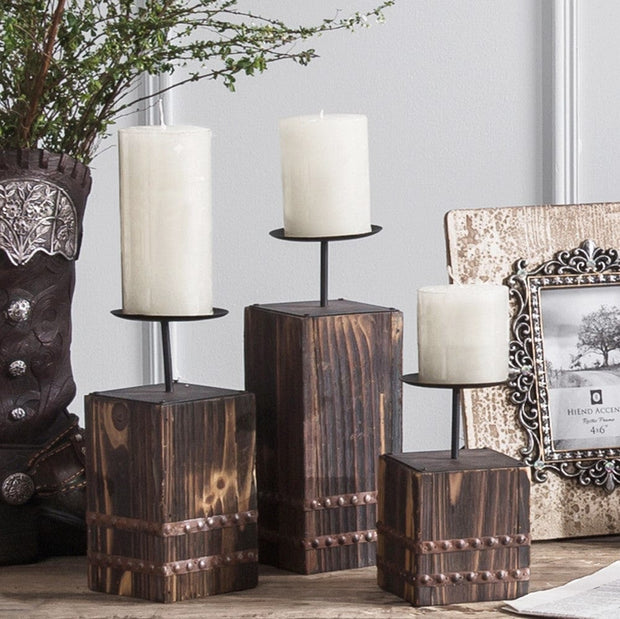 Wood Block & Metal Pillar Candle Holder (Set of 3)