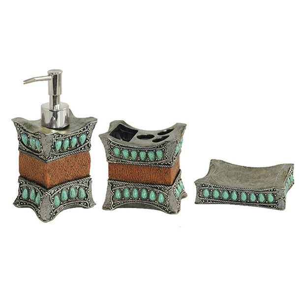 Turquoise 3 PC Bath Countertop Accessory Set
