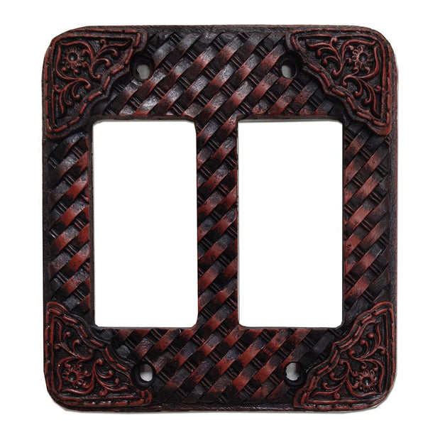 Tooled Resin Weaver Double Rocker Wall Switch Plate