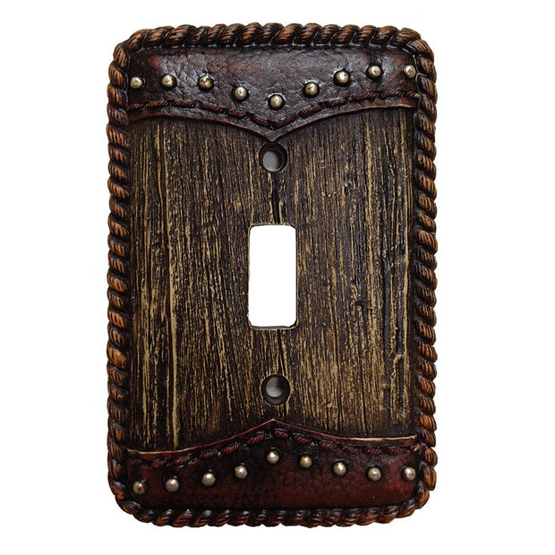 Woodgrain w/ Double Yoke Single Switch Wall Plate