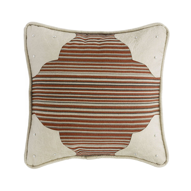 Silverado Faux Leather Corner Scallop Throw Pillow, 18x18