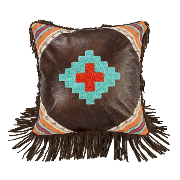 Serape Faux Leather Throw Pillow w/ Aztec Embroidery, 18x18