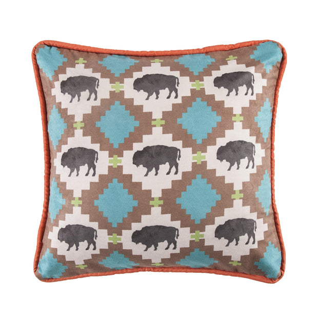 Serape Multi Buffalo Design Pillow w/ Embroidery Detail, 18x18