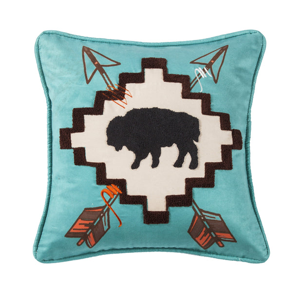 Serape Large Buffalo Throw Pillow w/ Embroidery Details, 18x18