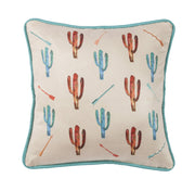 Serape Cactus Throw Pillow w/ Embroidery Details, 18x18