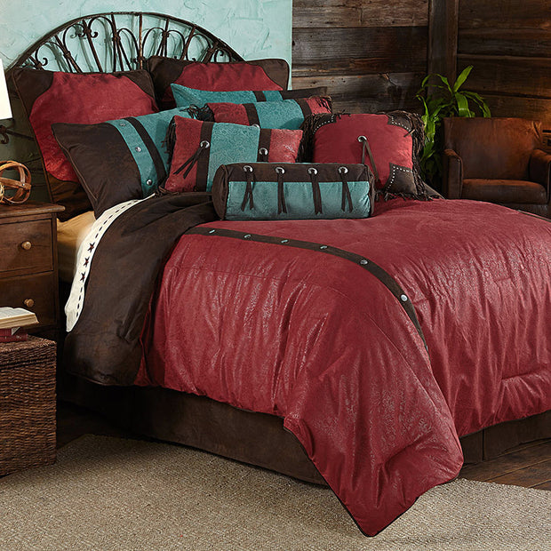 7 PC Cheyenne Comforter Set, Red