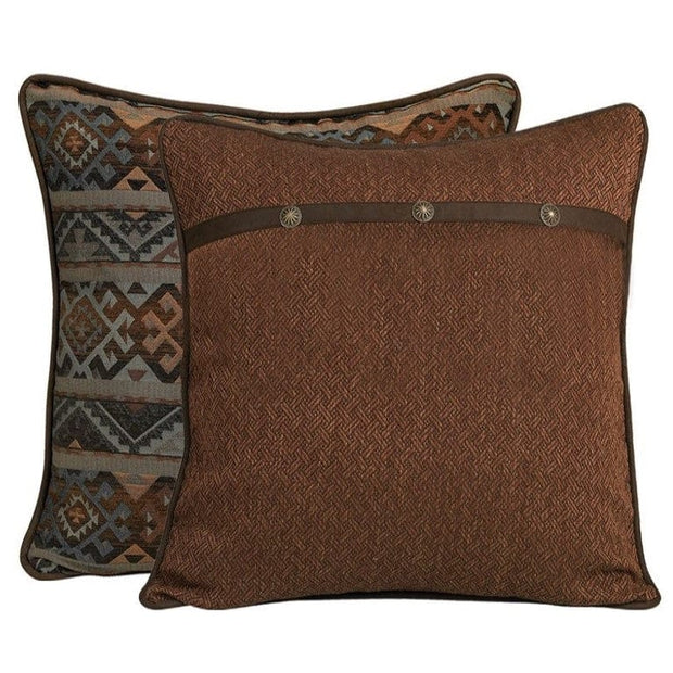 Rio Grande Blue, Brown & Copper Reversible Euro Sham
