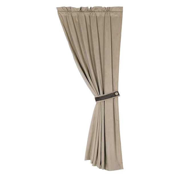 Tucson Soft Fawn Suede Rod-Pocket Curtain Panel