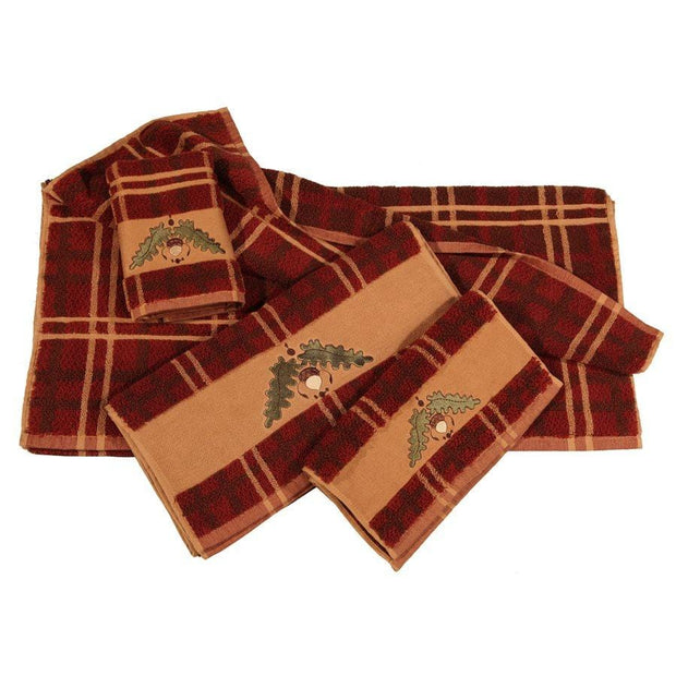 Acorn Embroidered 3-PC Bath Towel Set, Plaid