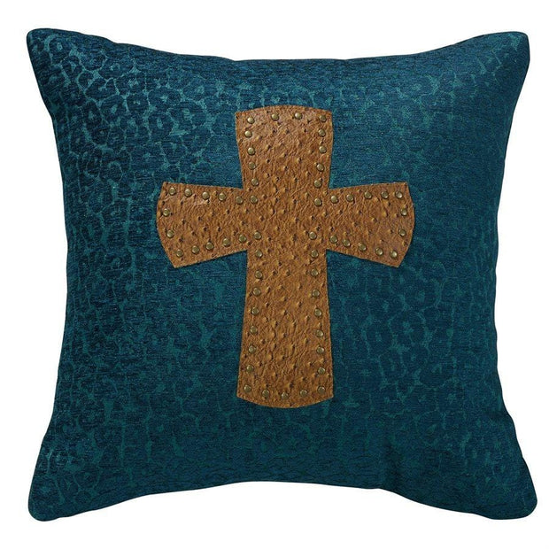 Alamosa Leopard Chenille Throw Pillow w/ Cross