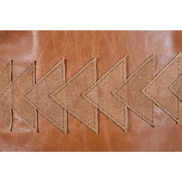 Arrow (Genuine) Leather Tasseled Throw Pillow, 20x12