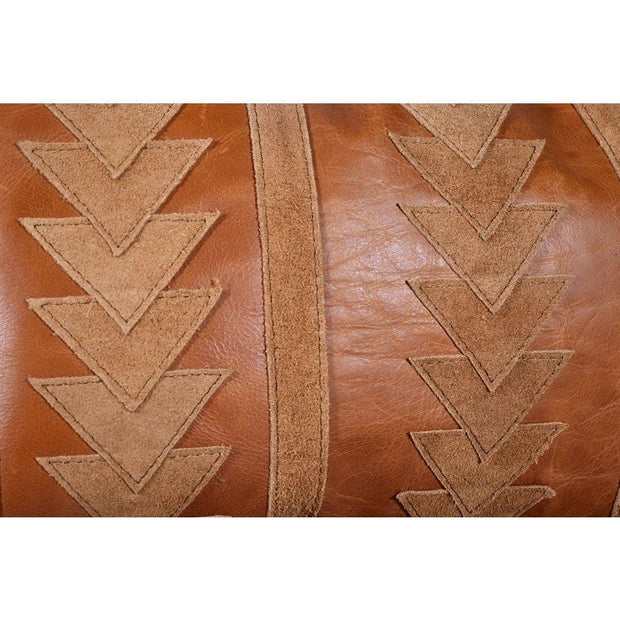 Arrow (Genuine) Leather Tasseled Throw Pillow