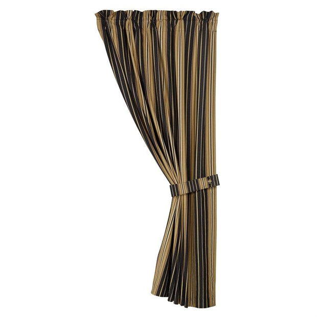 Ashbury Single Panel Curtain w/ Black & Tan Stripes