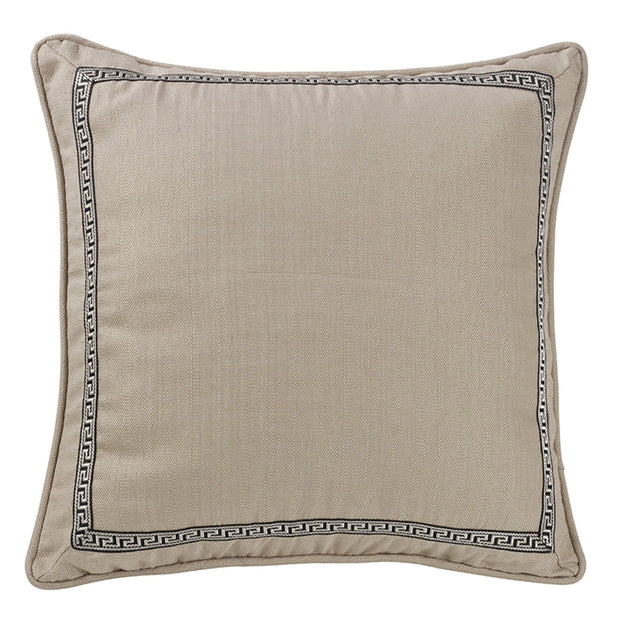 Augusta Linen Taupe Euro Sham w/ Greek Key Trim