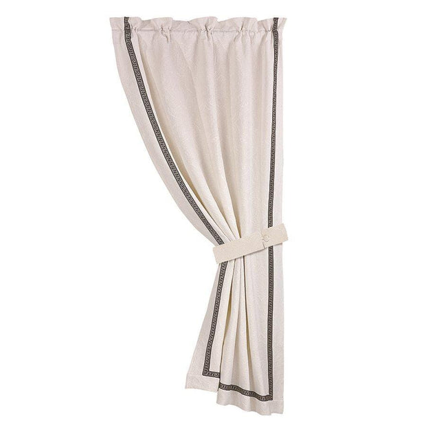 Augusta Matelasse Single Panel Curtain w/ Greek Key Trim