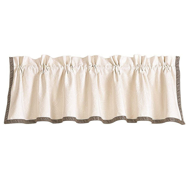 Augusta White Matelasse Kitchen Valance w/ Greek Key Trim