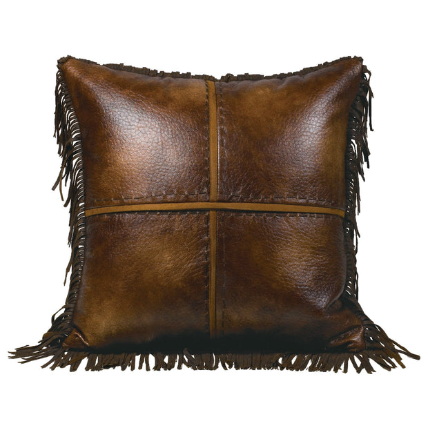 Austin Cross Stitched Faux Leather Throw Pillow