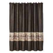 Axis Faux Leather Shower Curtain w/ Deer Fur Design