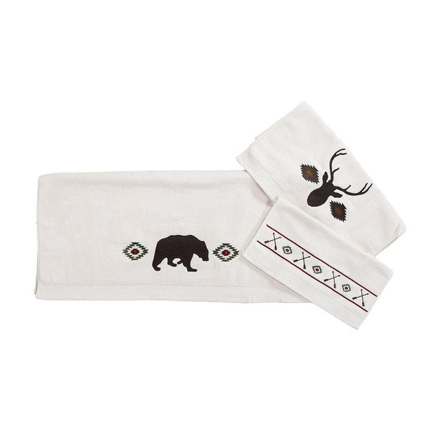 Aztec Bear 3-PC Bath Towel Set, Cream