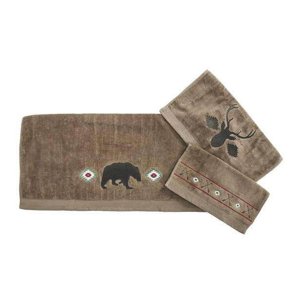 Aztec Bear 3-PC Bath Towel Set, Mocha