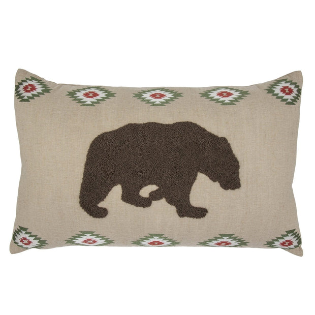 Aztec Bear Embroidered Burlap Lumbar Pillow, 16x26