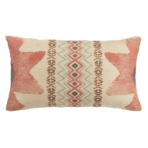 Aztec Burlap Pink Star Lumbar End Pillow