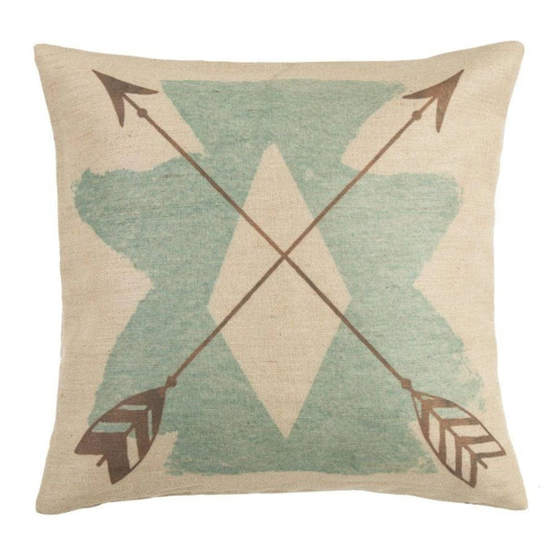 Aztec Burlap Turquoise Throw Pillow