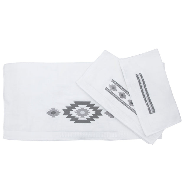 Free Spirit 3-PC Embroidery Towel Set, White