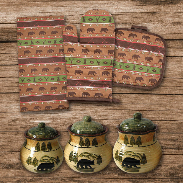 Aztec Multi Animal Print and Bear Canister 12-PC Set