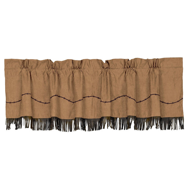 Barbwire Dark Tan Kitchen Valance w/ Fringe