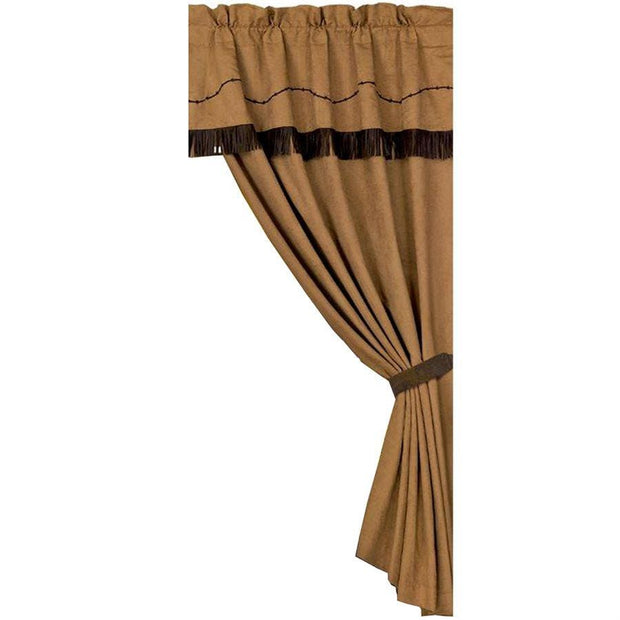 Barbwire Dark Tan Embroidered Single Panel Curtain