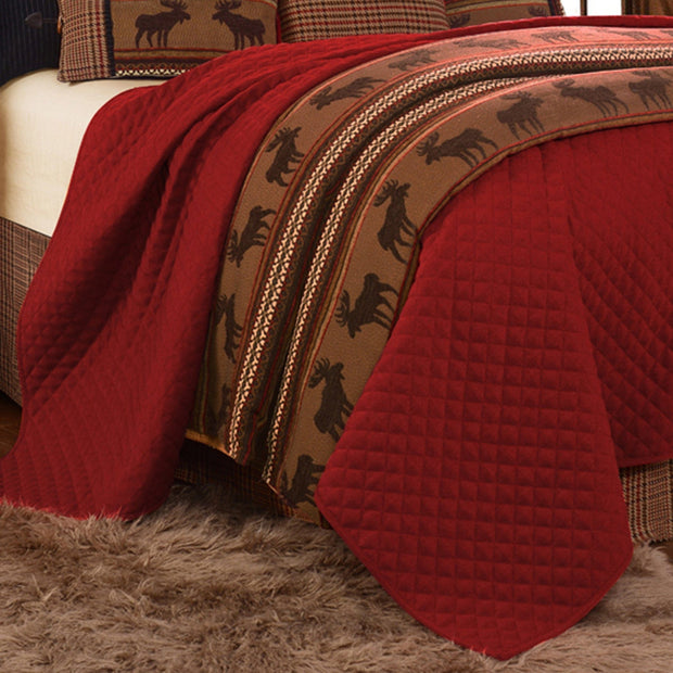 Bayfield Red Rustic Coverlet, Diamond Pattern
